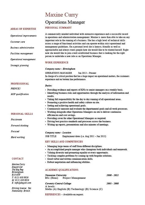 operations manager resume description exle