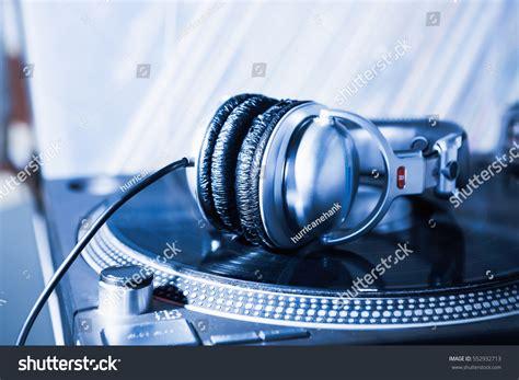 Big Silver Dj Headphones Powerful Bass Stock Photo