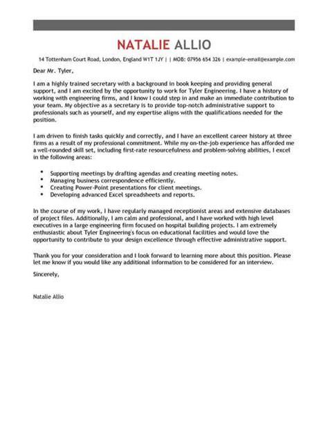 secretary cover letter examples  admin livecareer