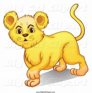 Big Cat Cartoon Vector Clipart of a Cute Lion Cub Walking ...
