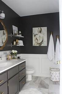 best 25 gray bathrooms ideas on pinterest restroom With best brand of paint for kitchen cabinets with purple and grey wall art