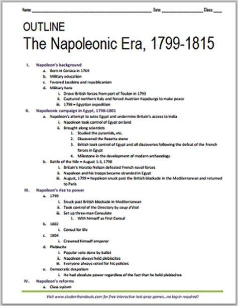 printable outline napoleonic era 1799 1815 student