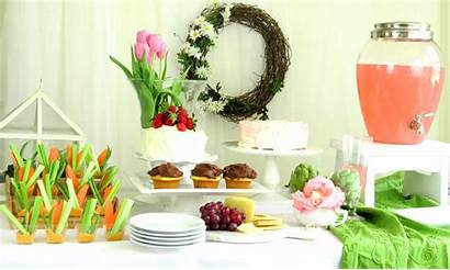 Shower Bridal Garden Party Pink Hummus Table
