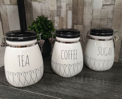 New Heartlines Tea Coffee Sugar Canisters Kitchen Storage