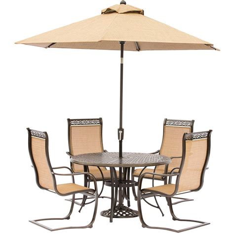 Umbrella And Table Set by Manor 5 Outdoor Dining Set With C Chairs A