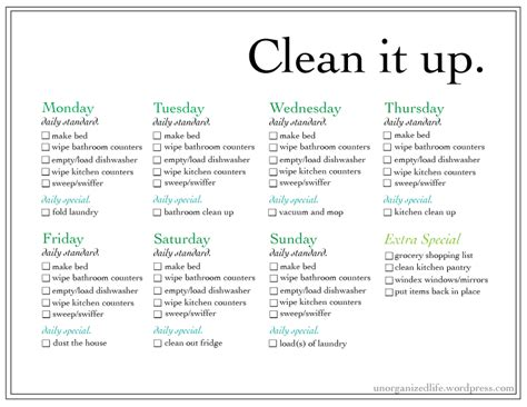 house chore list weekly chore list an un organized life