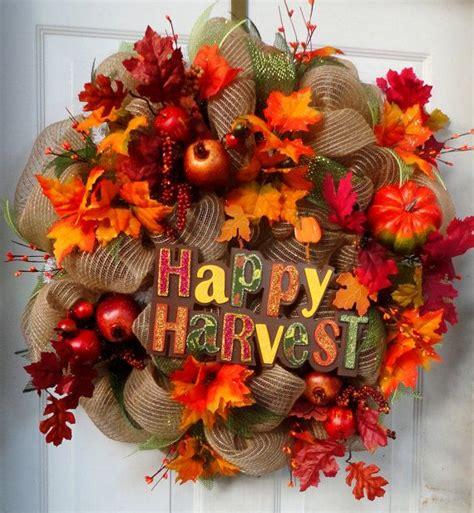 left fall deco mesh wreath autumn wreath fall