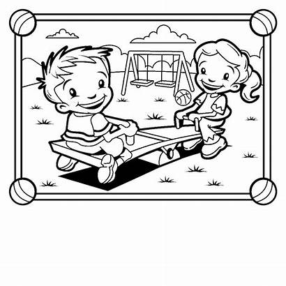 Coloring Park Pages Playground Colouring Seesaw Playing