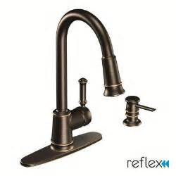 moen kitchen faucets home depot moen lindley 1 handle pull sprayer kitchen faucet featuring reflex in mediterranean bronze