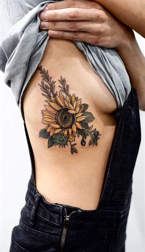 Realistic Sunflower Rib Tattoo Ideas For Women With Color