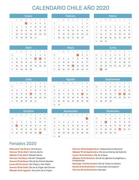 calendario de chile ano feriados