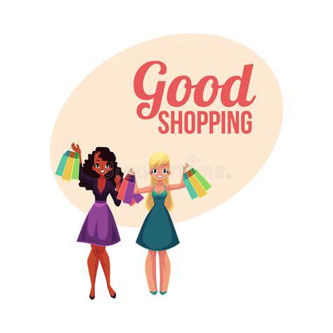 mulher feliz com desenhos animados dos sacos de compras ilustra 231 245 es vetores e clipart de stock