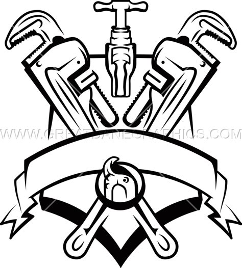 14785 plumber clipart black and white banner shield template production ready artwork for t