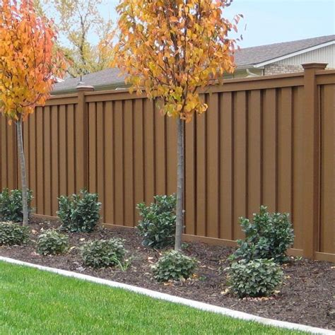 trex seclusions  ft   ft saddle brown wood plastic composite board  board privacy fence