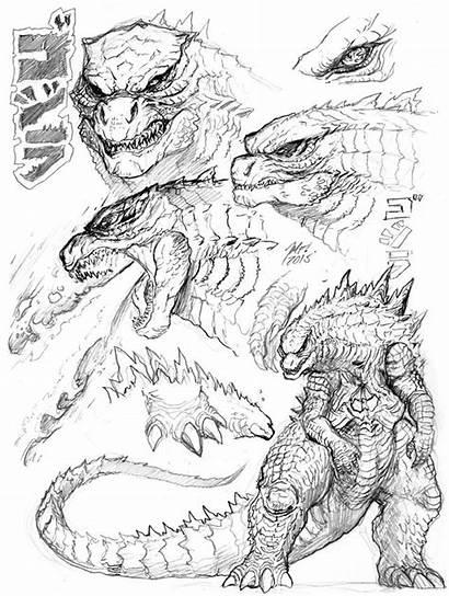 Godzilla Kong King Sketches Kaiju Breath Atomic