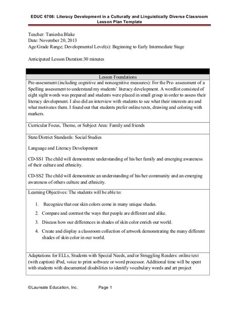 Developing A Lesson Plan Template by Literacy Development Lesson