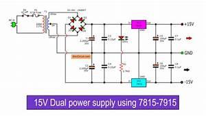 Dual 15v Power Supply Schematic With Pcb   15v -15v 1a