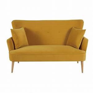Canapé Velours Jaune : canap 2 places en velours jaune moutarde maisons du monde ~ Teatrodelosmanantiales.com Idées de Décoration
