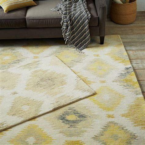 blur grey yellow  beige ikat rug