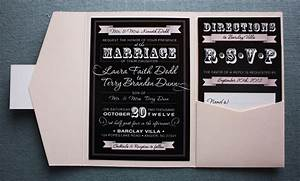 blush pink black vintage steampunk poster style With black white and blush wedding invitations