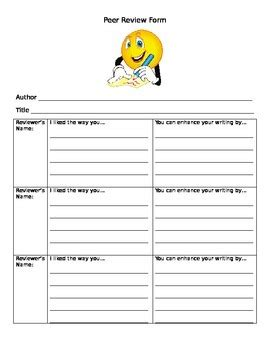 peer review template writing peer review template by ms nolan from tpt
