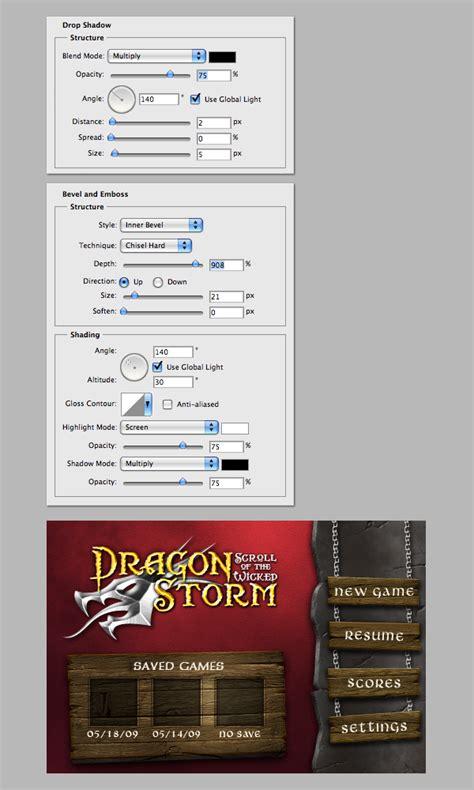 menu interface   fantasy themed iphone game