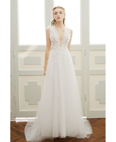 simple boho wedding dress deep  neck sweep train