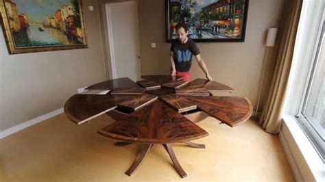 johnson furniture expanding table expanding circular dining table in walnut youtube