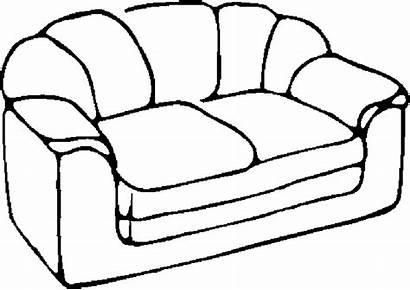 Sofa Coloring Clipart Furniture