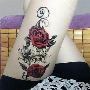 Tatouage De Rose : tatouage ephemere rose rouge old school kolawi ~ Melissatoandfro.com Idées de Décoration