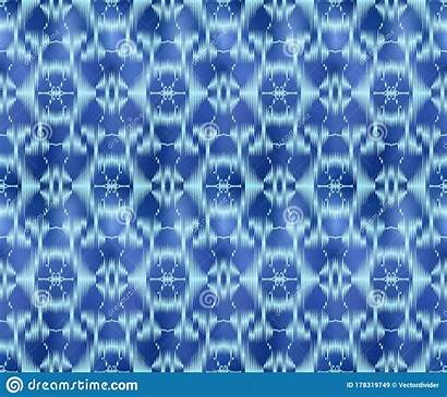 Ikat Dyed Repeatable Indigo Textile Seamless Pattern