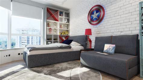 mur chambre ado chambre pour garçon thème héros marvel