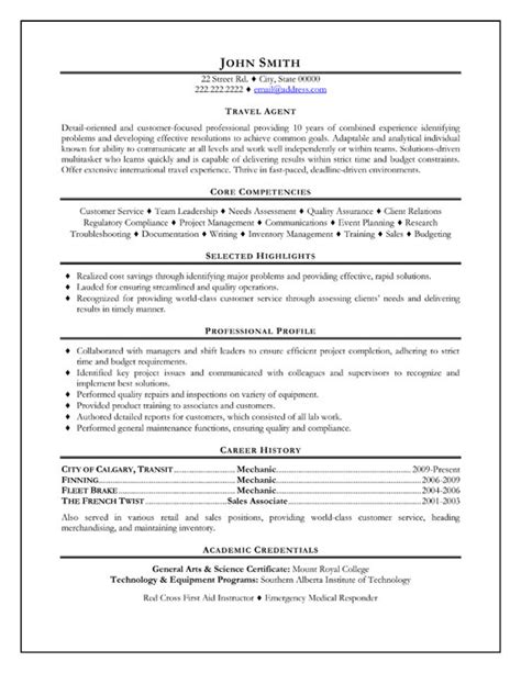 travel resume sle template