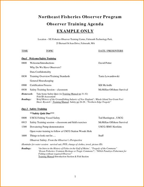 training agenda template for word agenda templates word exle mughals