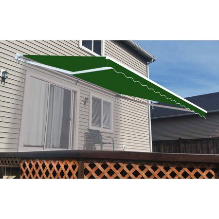aleko retractable patio awning       solid green patio awning walmartcom