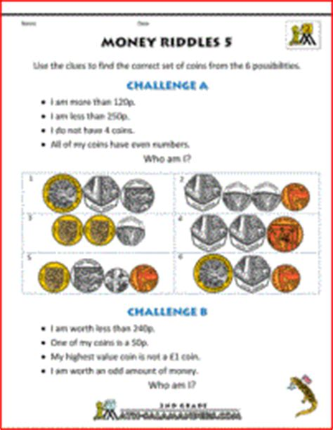 money worksheets  kids money riddles uk