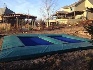 in ground trampoline Landscape Contemporary with drain