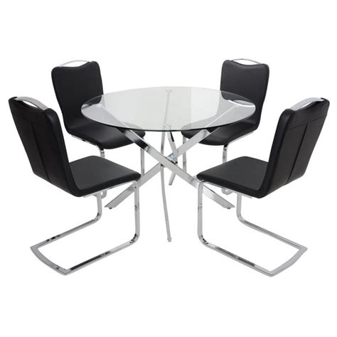 glass table with 4 chairs round glass top dining table set with 4 black chairs