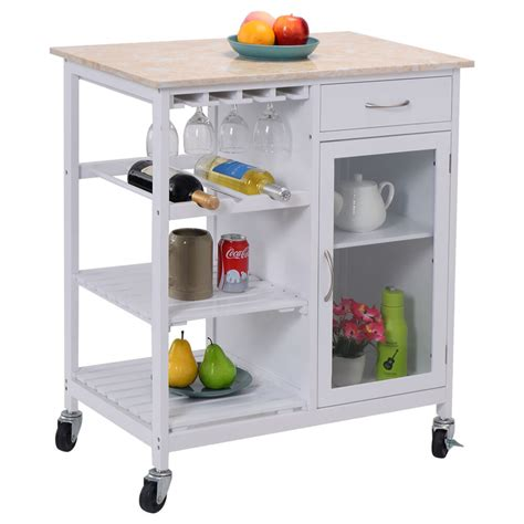 Portable Kitchen Rolling Cart Faux Marble Top Island