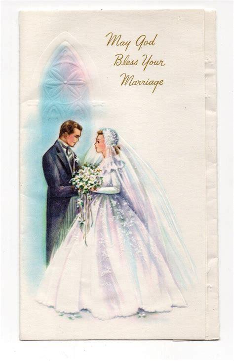 vintage wedding greeting card bride groom  church ebay