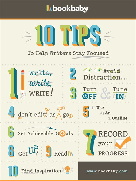 Writing Tips by 10 Tips For Writers Writing Process Focus Bookbaby