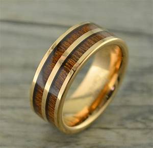 tungsten rose gold ring with double row of koa wood inlay With wedding rings with wood inlay