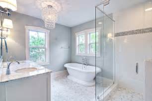 Chandelier Over Bathroom Vanity by Spa Like Master Bath With Glass Chandelier And Pedestal