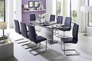 Impressionnant grande table en verre de salle a manger et for Salle À manger contemporaineavec grande table de salle a manger