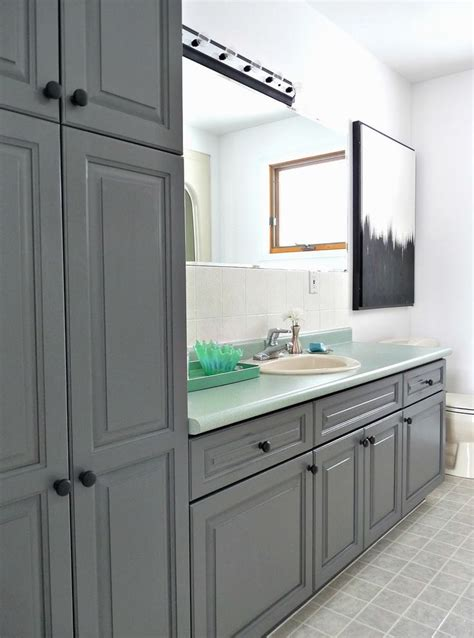 Bathroom Cabinet Makeover Ideas by Charocoal Painted Bathroom Cabinets Rustoleum Cabinet