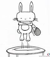 Trampoline Coloring Pages Hipster Bunny Play Printable Adults sketch template