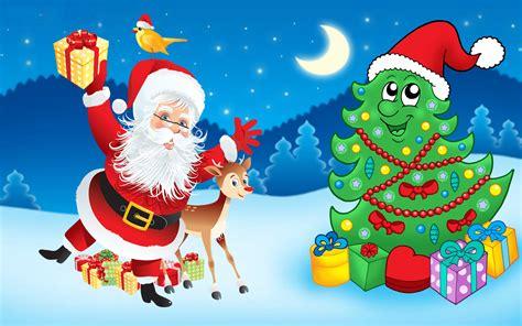 Santa Claus-christmas Tree-decorations-gifts-cartoon