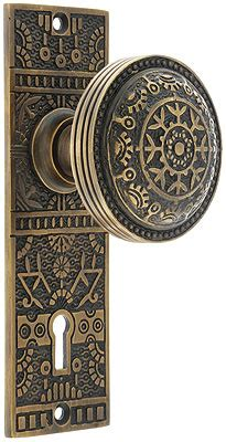 brass windsor interior mortise lock set  matching knobs  antique  hand house