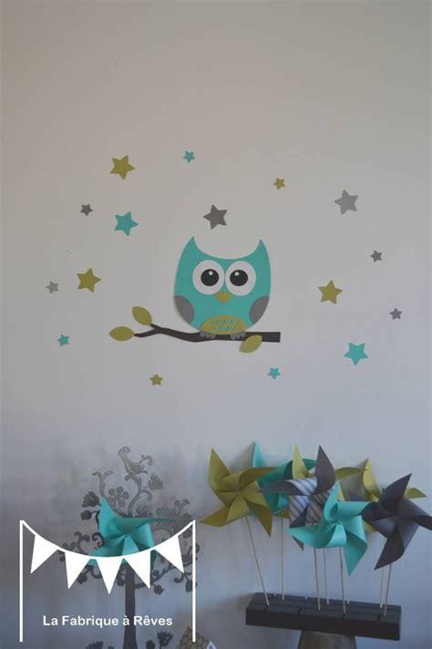 rideau chambre bébé jungle dispo stickers hibou et ses 16 étoiles turquoise vert