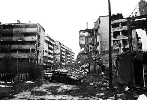 the siege of sarajevo crushed cars and the debris of war